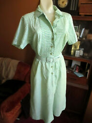 sz 8 True Vtg 60s ULTRA THIN GREEN CHECKER Belted Country A-Line Dress