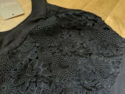 NEW Anthropologie Oleander Openwork Little Black Dress XS 0 Lace Floral Easter $79.99