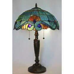 tiffany style 25 in. blue vintage table lamp glass shade stained light bell $133.99