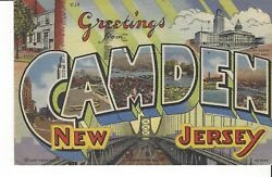 POSTCARD LARGE LETTER quot;GREETINGS FROM CAMDEN NEW JERSEYquot; $5.00