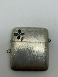 Antique Russian 84 Imperial Silver Vesta Case with Sapphires hallmarked AI