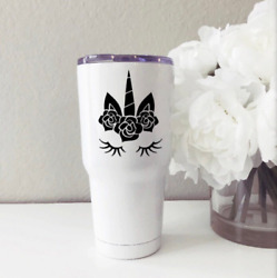 Unicorn Face Vinyl Decal Sticker  For Hydro Flask yeti tumbler water bottle