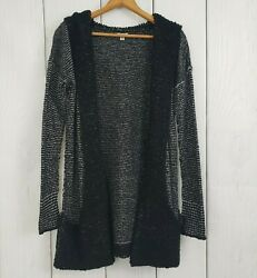 ANTHROPOLOGIE Ecote size Small Black White Hooded Duster Open Cardigan Sweater
