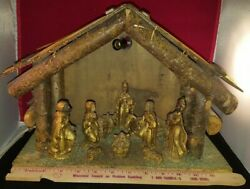 Unique Vintage Italy Wood Wooden Creche Manger Stable Christmas 13