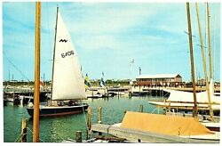 Dewey Beach Delaware Postcard Sail Boat Under Full Sail Dock Boats #75731