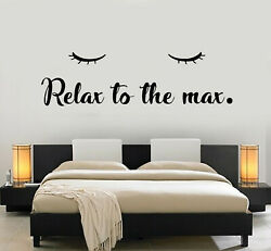 Vinyl Wall Decal Closed Eyes Relax To The Max Sleep Bedroom Stickers g2174 $47.99