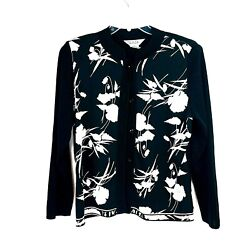 Misook Black White Floral Button Front Cardigan Sweater Size Large 12 14