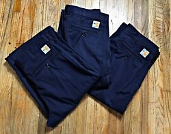 Lot (3) Carhartt FR Fire Resistant Navy Blue Pants (371-20) Men's  Size 32X34