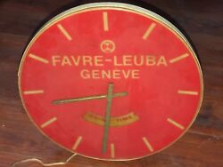 SUPER RARE 1930s FAVRE LEUBA WATCHES VINTAGE MOTION WALL CLOCK LIGHT BOX SIGN