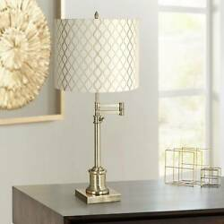 Swing Arm Desk Table Lamp Antique Brass Embroidered Hourglass for Bedroom Office