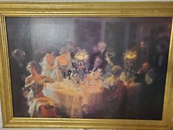 The Dinner Party Jules Alexandre Handmade Old Oil Painting repro w gold frame $375.00
