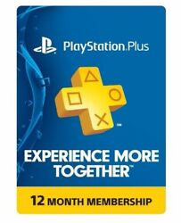 Sony PlayStation PS Plus 12 Month 1 Year Membership Subscription $33.99