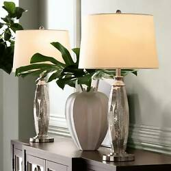Modern Table Lamps Set of 2 Mercury Glass Brushed Nickel for Living Room Bedroom $99.99