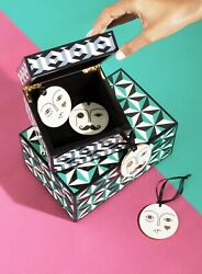 NEW JONATHAN ADLER Hamp;M MR amp; MRS PORCELAIN 2 DECORATIONS ORNAMENTS HOLIDAY XMAS $38.00
