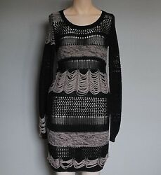 STUNNING WOMENS ALL SAINTS SIOUXSIE JUMPER DRESS COTTON LOOSE KNIT 2 BLACK £160 $19.99