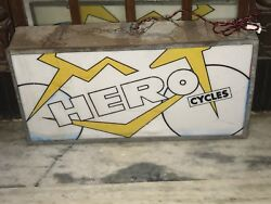 Original HERO CYCLES Vintage Bicycle Dealer Store Light Up Box Sign 1950s RARE
