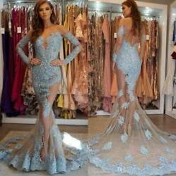 Sexy See Through Mermaid Evening Celebrity Dresses Lace Applique Pageant Gowns