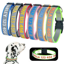 Dog Collar Adjustable Personalized Embroidered Name Super Reflective Small Large $6.64
