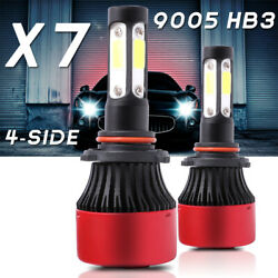 Pair 4-sides LED Headlight Kit 9005 HB3 H10 9140 9145 180W 6000K 28500LM Bulbs $15.99