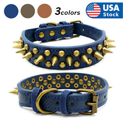 Retro Studded Spiked Rivet Large Dog Pet Leather Collar Pit Bull S XL $11.98