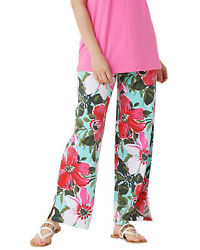 Denim & Co. Womens Beach Pull-On Pants with Side Slits 2X Petite Floral $23.00