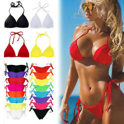 Women#x27;s Bikini Padded Bra Tops Thong Bottoms Cheeky Swimwear Swimsuit Bathing V $14.99