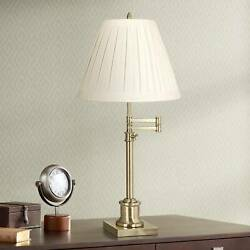 Swing Arm Desk Lamp Antique Brass Pleated Linen Shade for Bedroom Bedside Office
