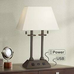 Traditional Desk Lamp with USB Outlet Bronze Fabric Shade for Office Table $149.99