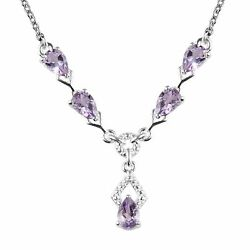 925 Sterling Silver Pink Amethyst Necklace Jewelry For Her Size 18#x27;#x27; Ct 1.7