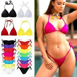 Women#x27;s Triangle Bikini Padded Bra Thong Bottoms Cheeky Swimwear Swimsuit V $12.99
