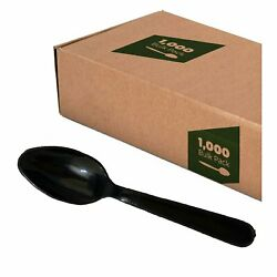 Plastic Disposable Cutlery Spoons Black Heavy Weight 1000 In A Box $16.99