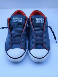 Converse All Star Boys Junior Black Red Leather Sneaker Shoes Size 3 $35.00
