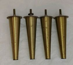 Set 4 Vintage Mid Century Modern Tapered Brass Table Legs 6