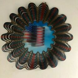 3D USA holograph American Flag metal Wind Spinner 12-Inch 10.5 inch rd. outdoor