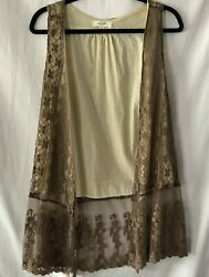 Umgee Women Brown Lace Vest Boho Size Small SM $10.00