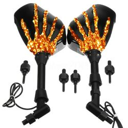 2x Skull Hand LED Integrated Turn Signal Mirrors For Motorcycle Cruiser