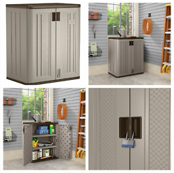 Short Plastic Storage Cabinet Utility Shed Garage Outdoor Garden Patio 3ft Tall $139.97