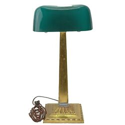 Antique Emeralite Desk Bankers Lamp Green Shade Vintage Deco 1917 Dated