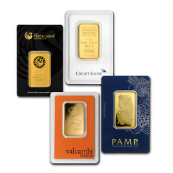 1 oz Gold Bar - Brand Name (Random In Assay Card) .9999 Fine Gold $1,887.79