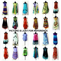 100pc Wholesale Indian Multi Color Tie Dye Casual Sundress Beach Wear Dresses