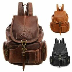 Women Vintage Leather Backpack Bag Shoulder School Travel Bag Satchel Rucksack $21.89