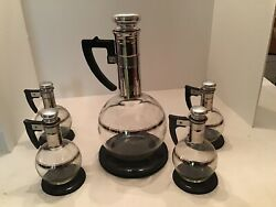 Cara Set Mid Modern Glass Coffee Carafe Set One Large amp; 4 Small Original Box $120.00
