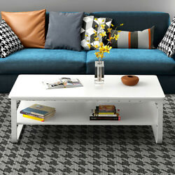 Modern High Gloss White Coffee Table Side End Table Living Room Furniture 22.8in $74.89