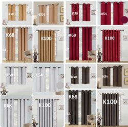 1 2PC100% BLACKOUT UNLINED HEAVY THICK THERMAL PANELS WINDOW CURTAIN TREATMENT $18.00