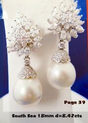 Diamond and South Sea Pearl Earring SPECTACULAR MONEY BACK GUARANTEE