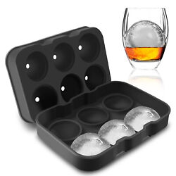 Round Ice Cube Ball Maker Tray Silicone Sphere Mold Bar Whiskey Cocktails Funnel $10.99
