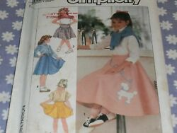 SIMPLICITY 7269 GIRLS POODLE SKIRT COSTUME PATTERN UNCUT SIZES 10 14 $6.99