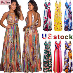 Women Floral Sexy Backless Evening Party Beach Long Maxi Dresses Boho Sundress $13.11