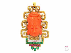 Carved Coral Buddha Pendant in 18k gold Set With Diamonds Emeralds and Rubies