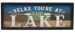 Relax You#x27;re At The Lake Farmhouse Sign Shelf Sitter Rustic Home Decor Print $14.99